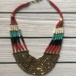 Jewelry - STATEMENT BIB NECKLACE Turquoise, Red, Black, Gold